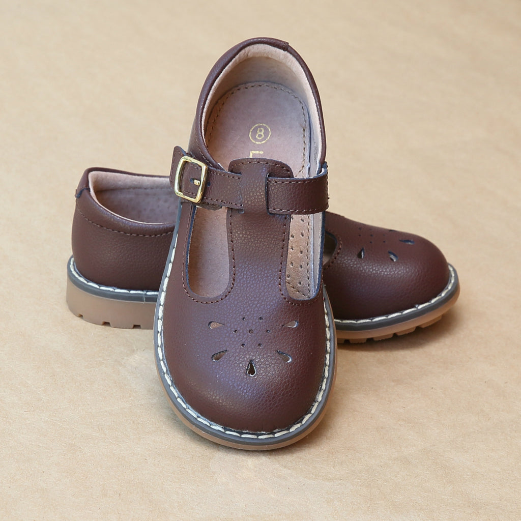 L'Amour Girls Agnes Classic English Marron Brown Pebbled Leather T-Strap Mary Jane - Petitfoot.com