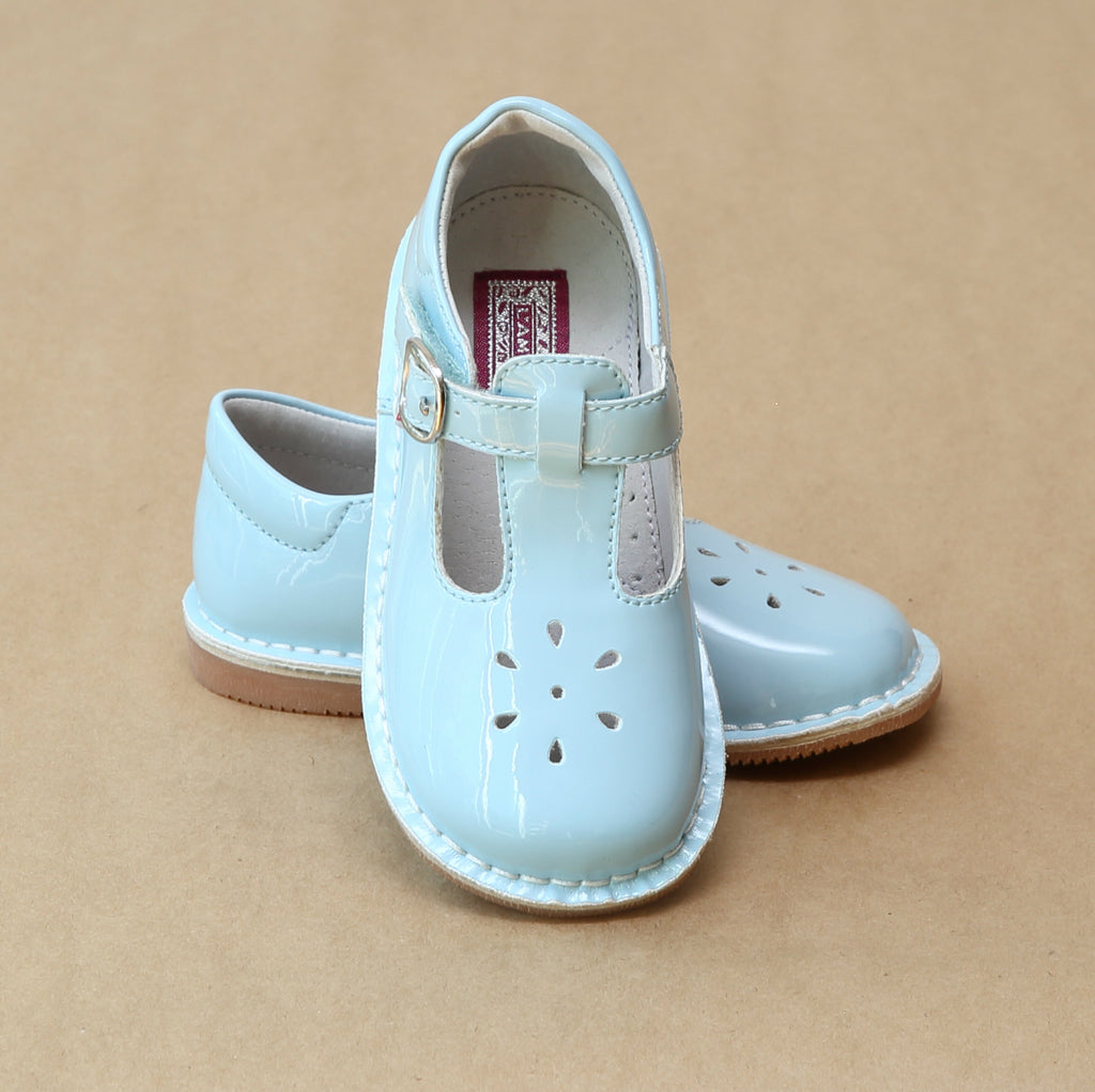 L'Amour Girls Joy Patent Sky Blue T-Strap Mary Janes - Petitfoot.com