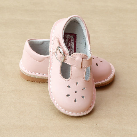 L'Amour Girls Pink T-Strap Leather Cut Out Mary Janes