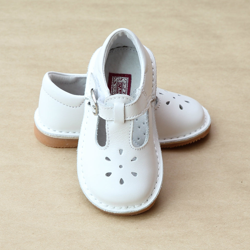 L'Amour Girls White T-Strap Leather Cut Out Mary Janes - Petitfoot.com