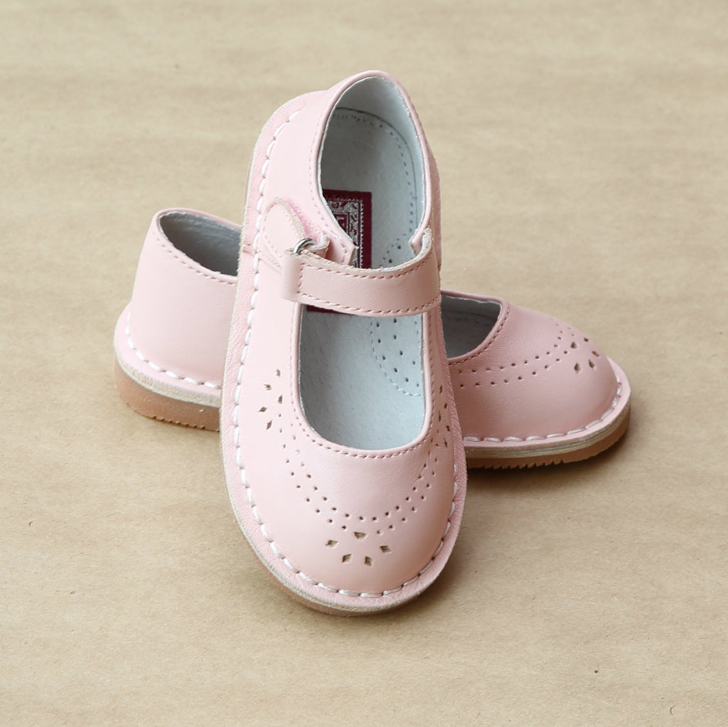 L'Amour Girls Pink Classic Perforated Leather Mary Jane - Petitfoot.com