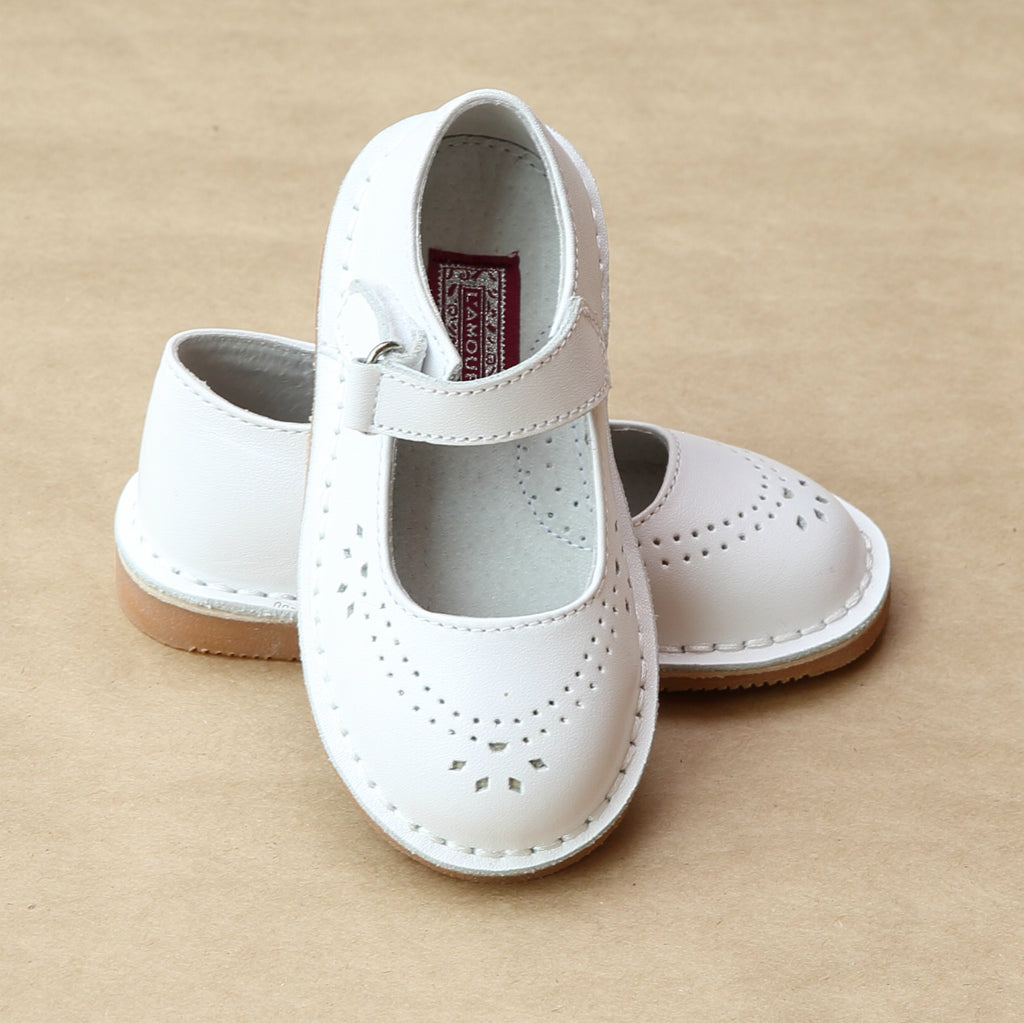 L'Amour Girls White Classic Perforated Leather Mary Jane - Petitfoot.com