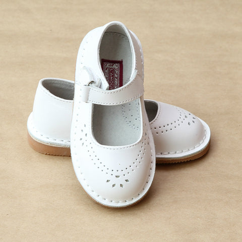 L'Amour Girls Classic White Perforated Leather Mary Jane