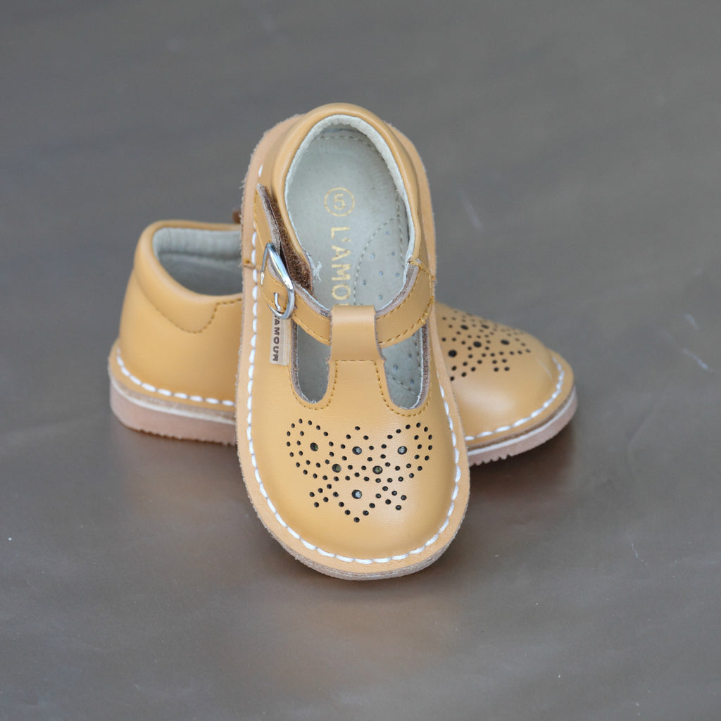 L'Amour Girls Mustard Perforated Pattern T-Strap Stitch Down Mary Jane
