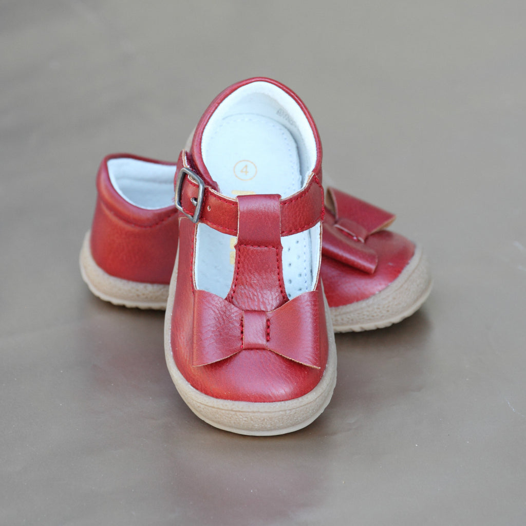 L'Amour Girls Red Stitched Bow Fall Mary Jane - Petitfoot.com
