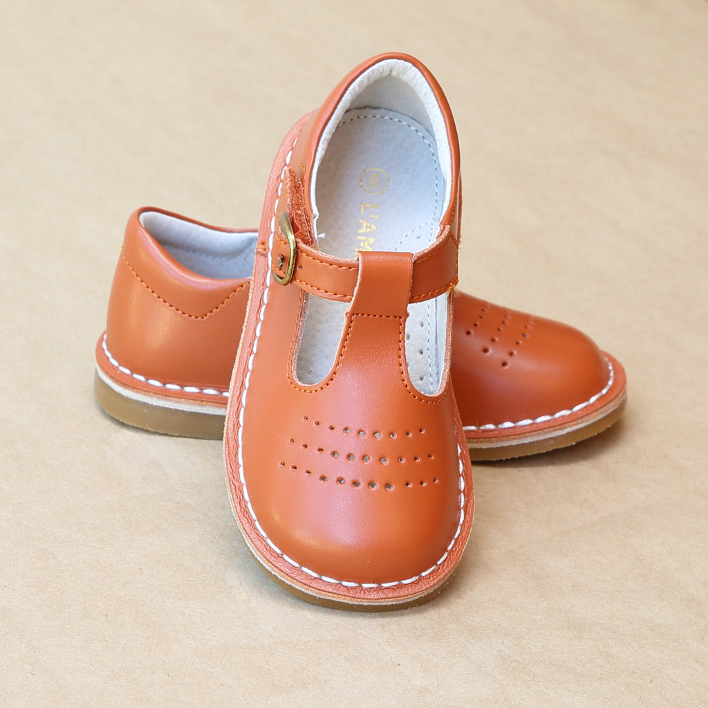 L'Amour Girls Cecile Spicy Orange T-Bar T-Strap Perforated Leather School Mary Janes - Petitfoot.com