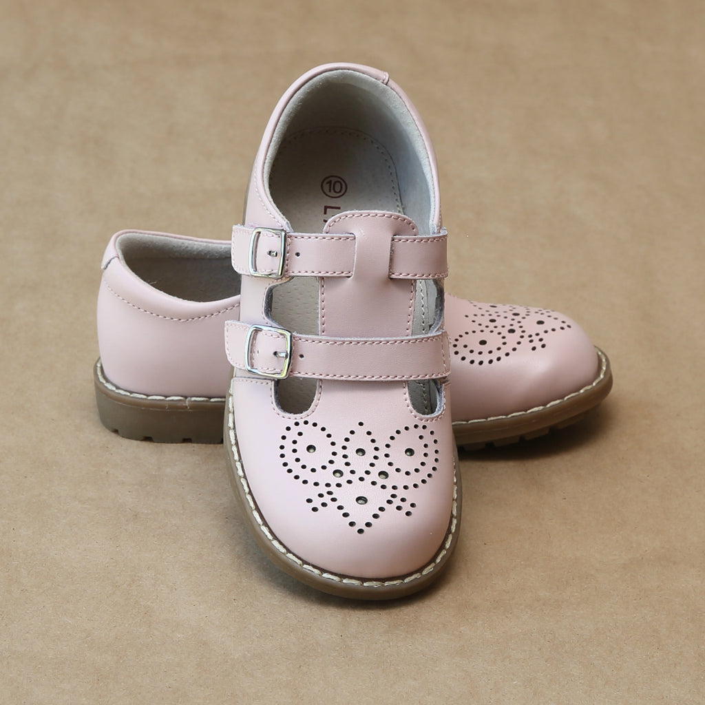L'Amour Girls English Classic Pink Double Buckled Strap Mary Jane - Petitfoot.com