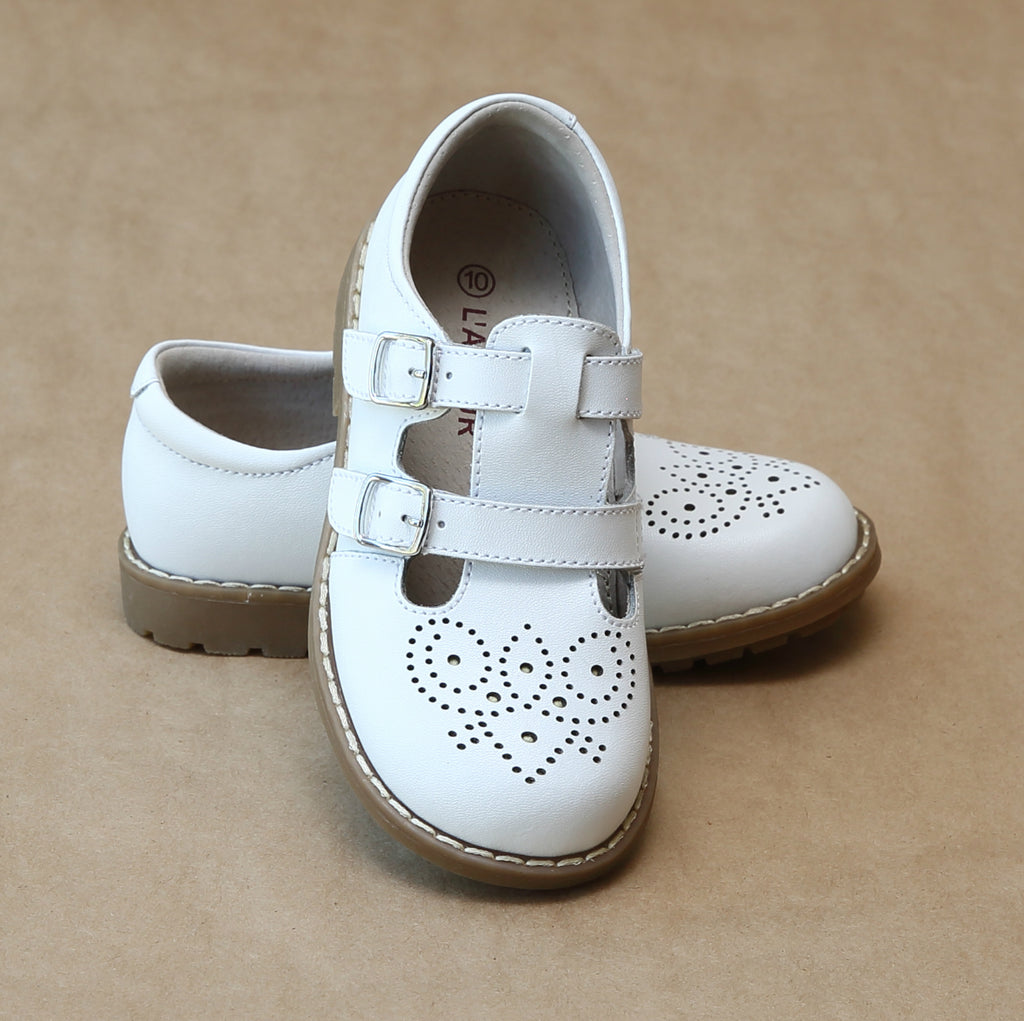 L'Amour Girls English Classic White Double Buckled Strap Mary Jane - Petitfoot.com