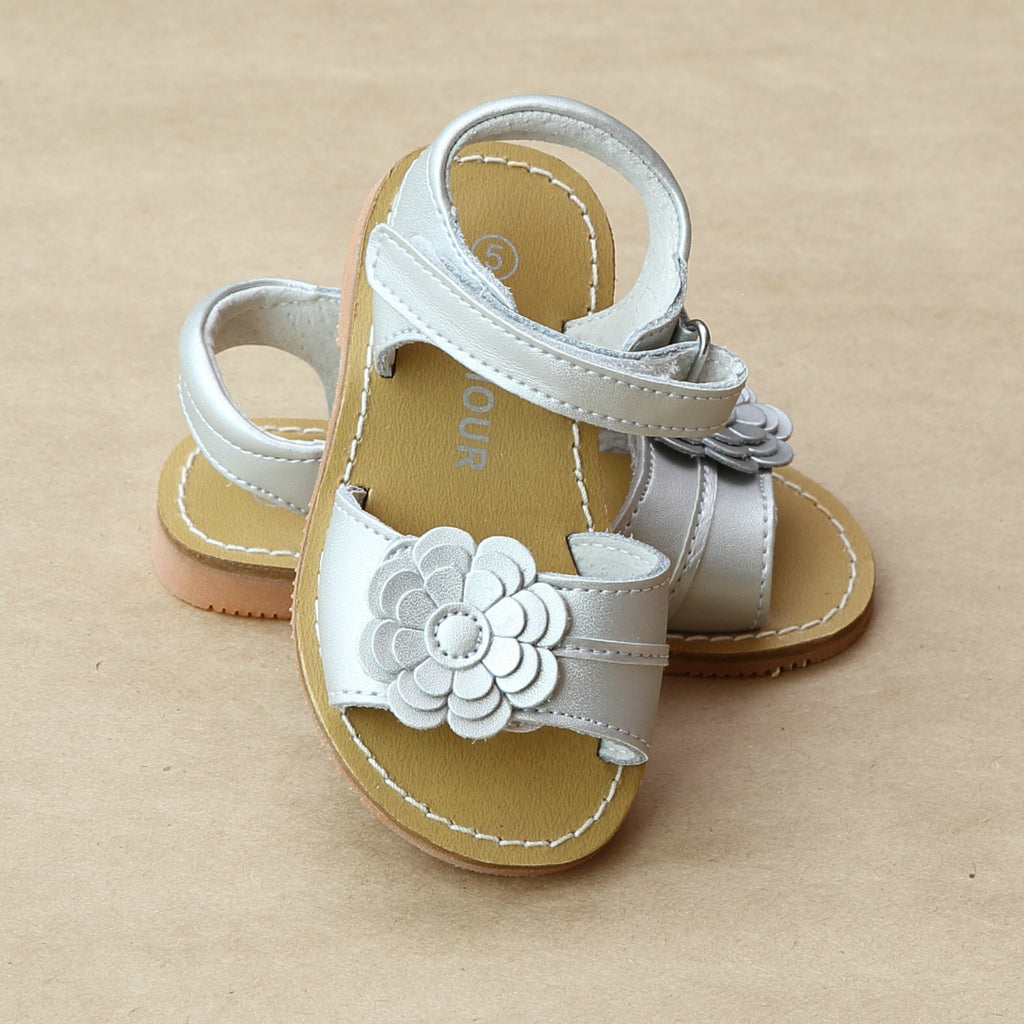 L'Amour Girls Silver Three Layer Petal Flower Sandal - Petitfoot.com