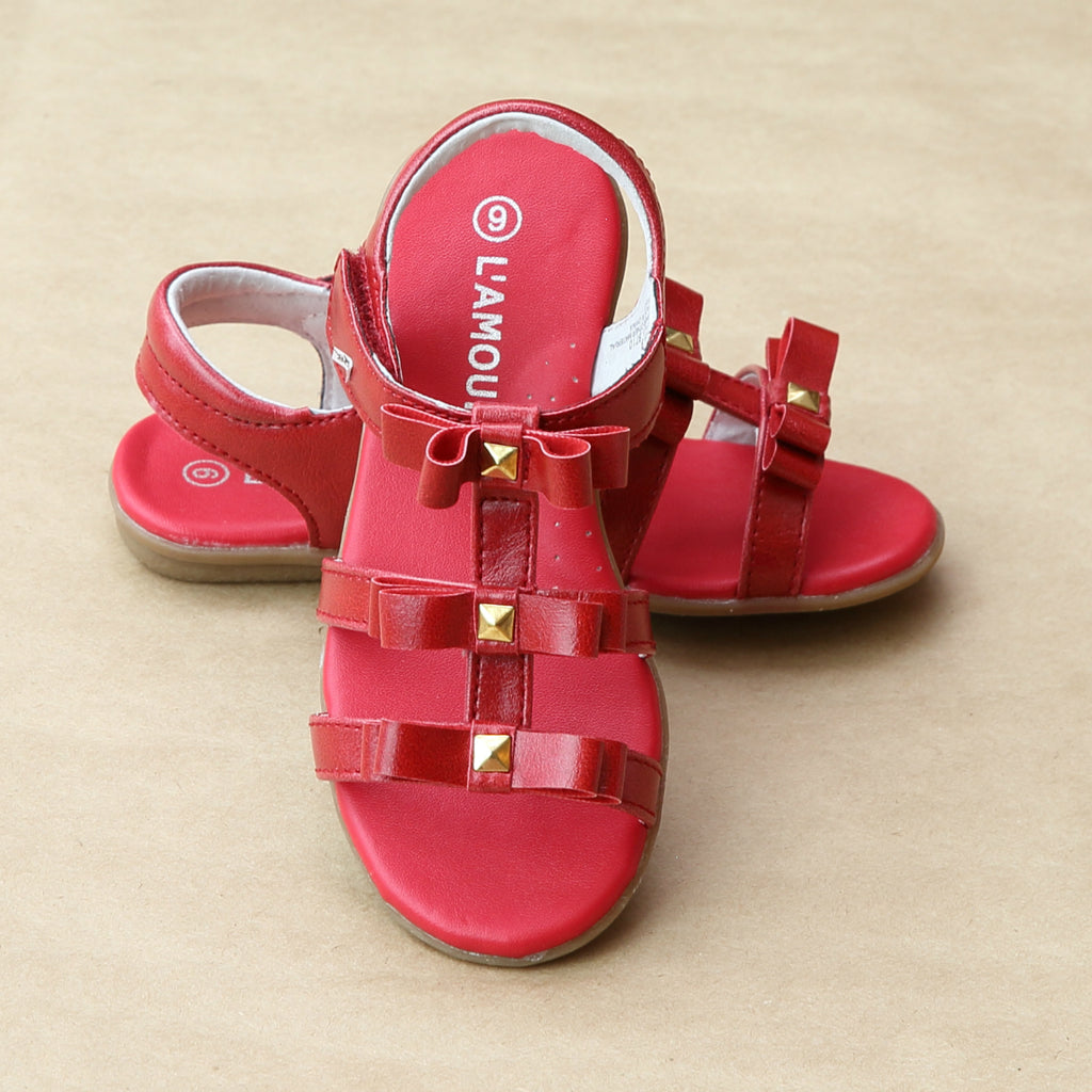 L'Amour Girls Red Studded Bow Sandal - Petitfoot.com