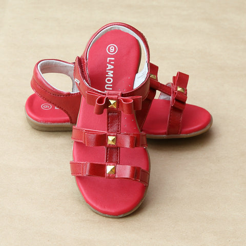 L'Amour Girls Studded Bow Sandal