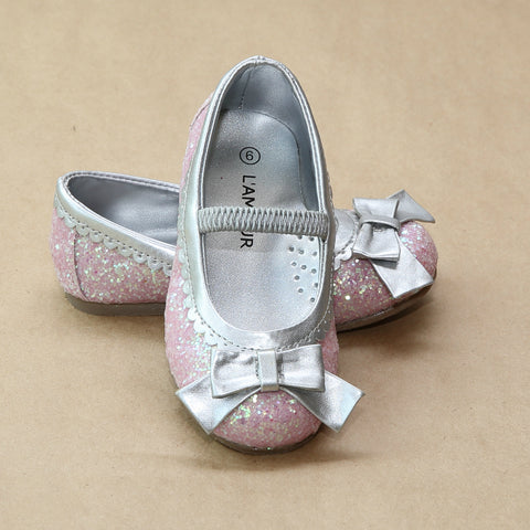 L'Amour Girls Cinderella Glitter Bow Scalloped Trim Flats