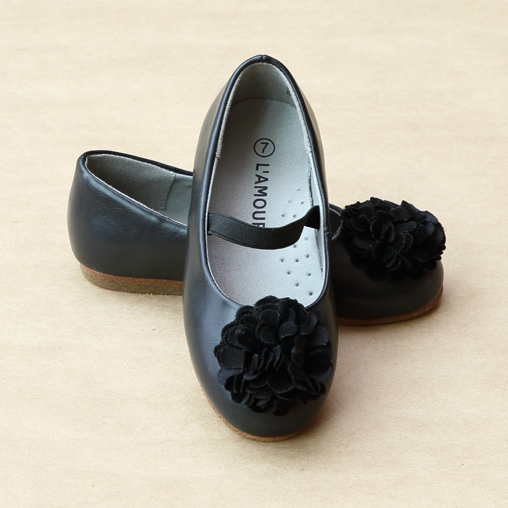 L'Amour Girls Black Pom Pom Ballet Flat - Petitfoot.com
