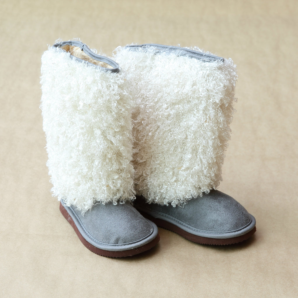 L'Amour Girls Gray Faux Shearling Boots - Petitfoot.com