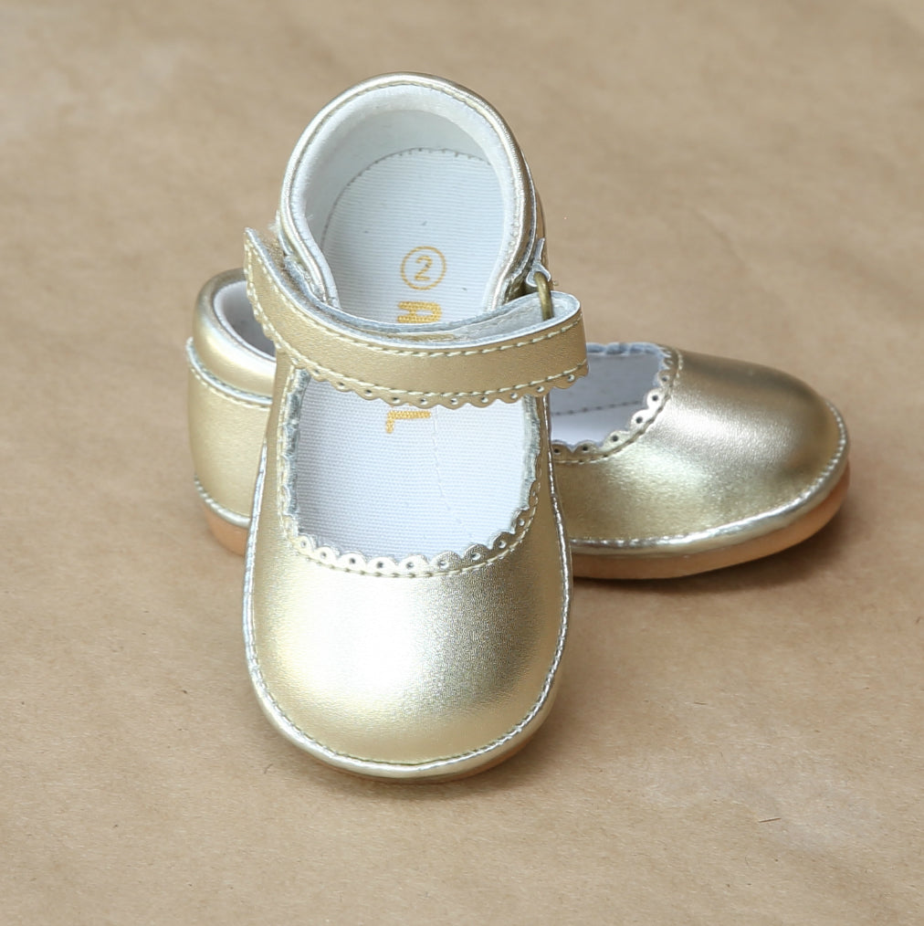 Angel Baby Girls Gold Scalloped Leather Mary Jane - Petitfoot.com