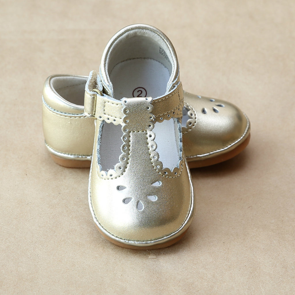 Angel Baby Girls Gold Scalloped Perforated Mary Jane - Petitfoot.com