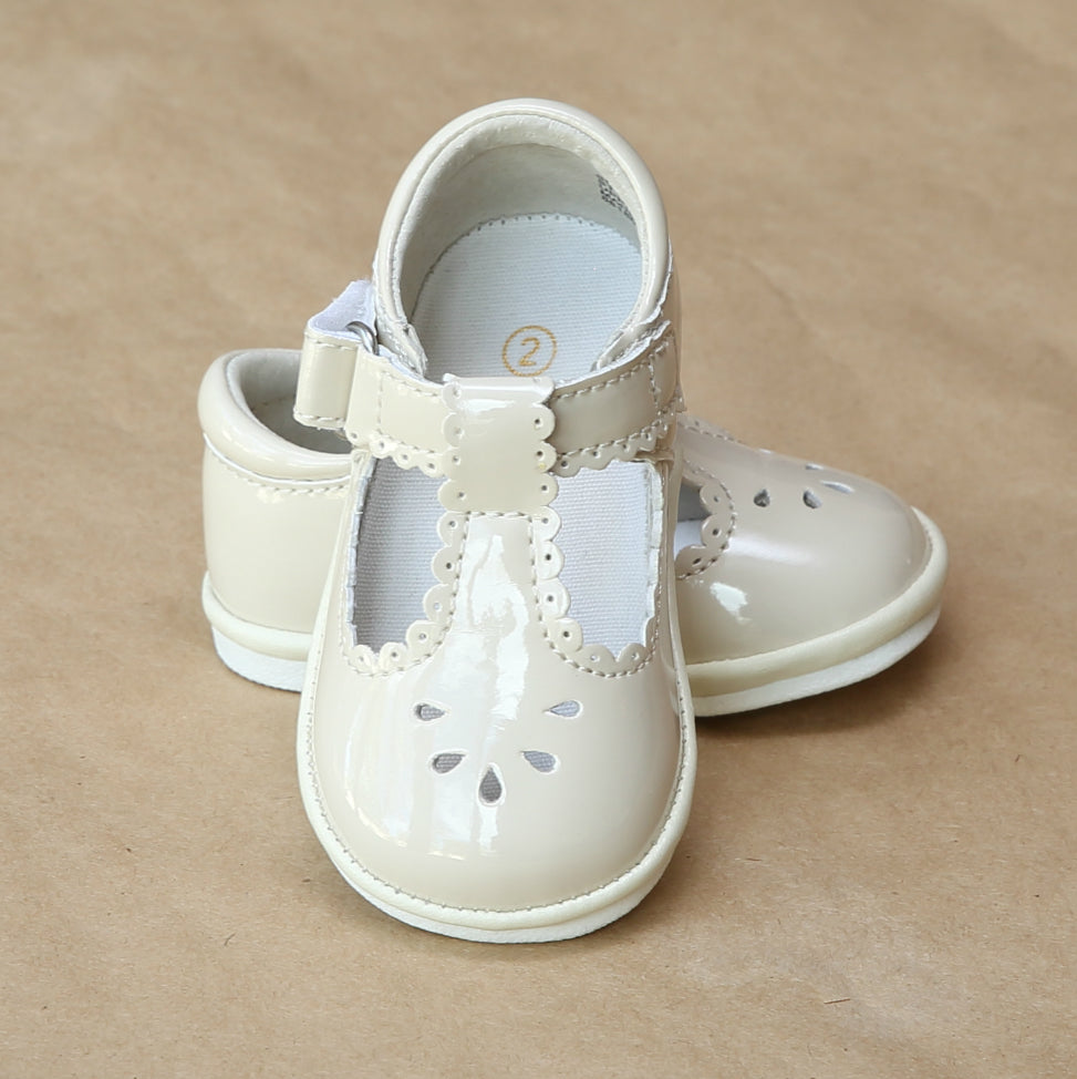 Angel Baby Girls Patent Cream Scalloped Perforated Mary Jane - Petitfoot.com