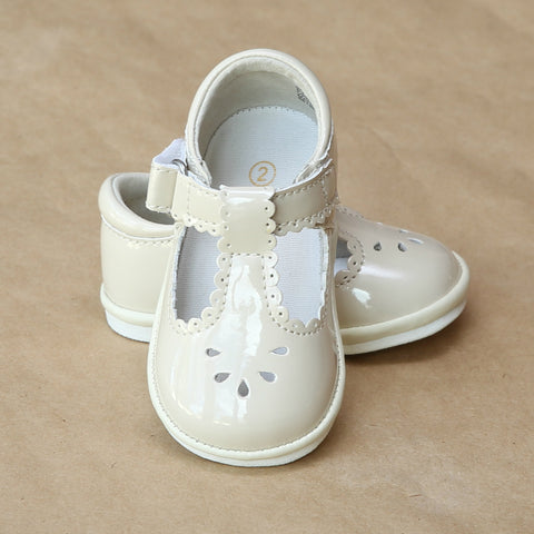 Angel Baby Girls T-Strap Scalloped Perforated Mary Jane