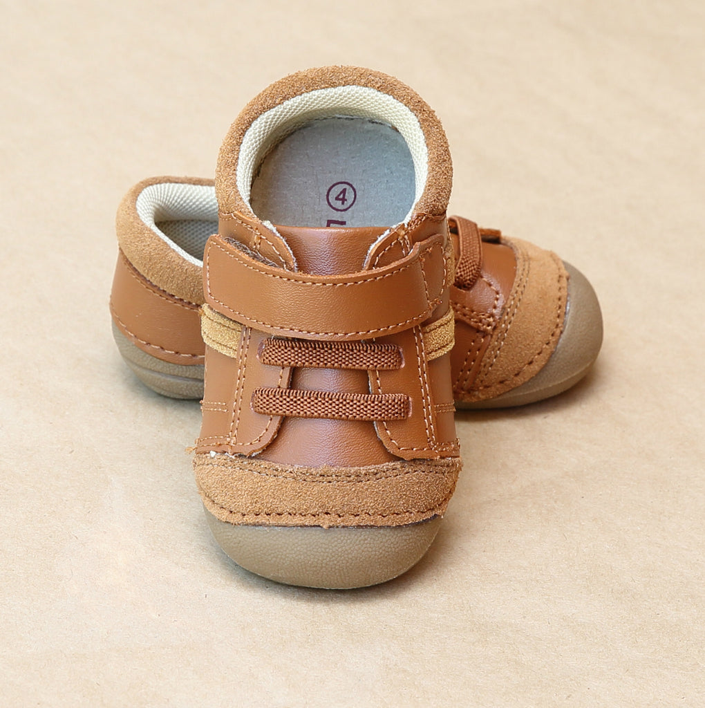 L'Amour Boys Olsen Brown Early Walker Leather Sneaker - Petitfoot.com