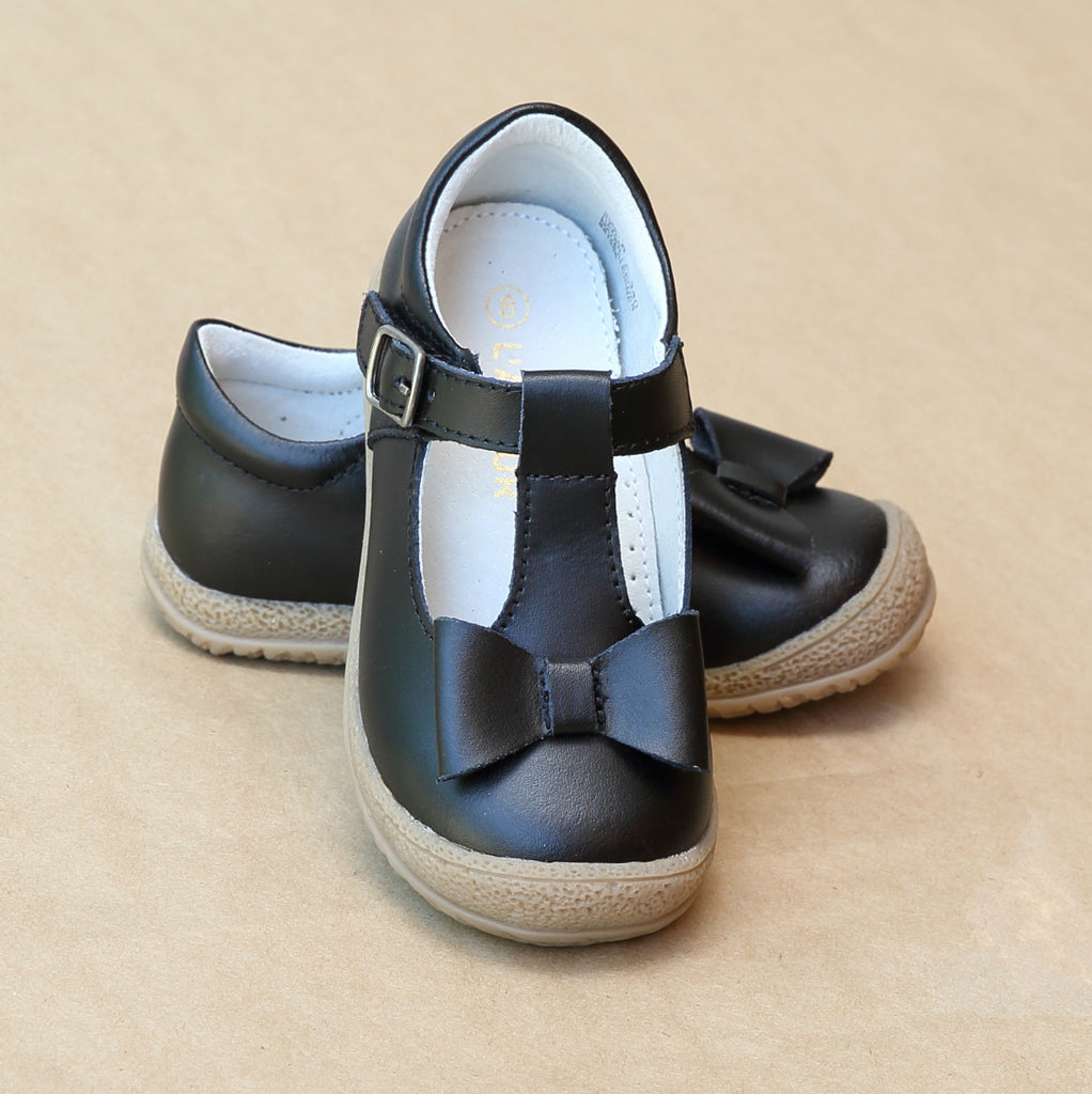 L'Amour Girls Black Leather T-Strap Bow Mary Jane - Petitfoot.com