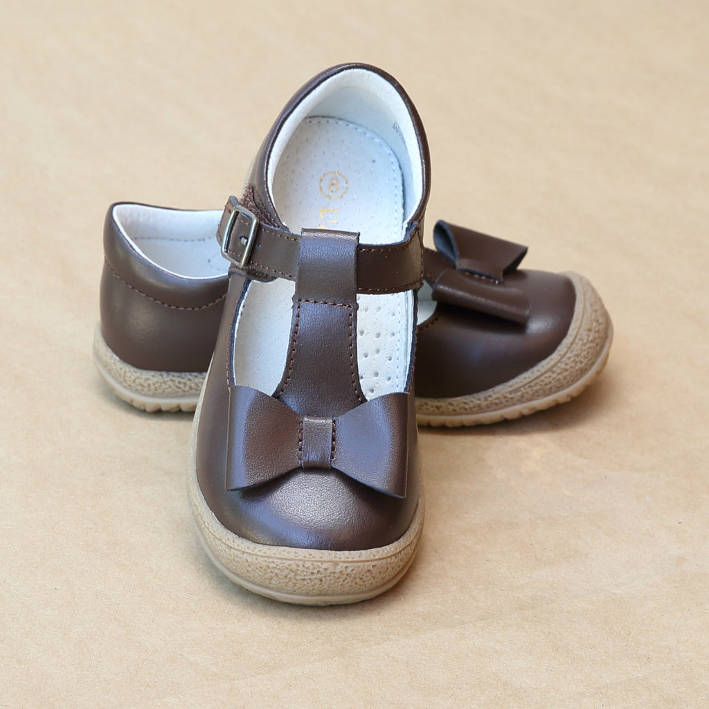 L'Amour Girls Brown Leather T-Strap Bow Mary Jane - Petitfoot.com