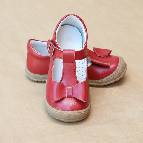 L'Amour Girls Red Leather T-Strap Bow Mary Jane