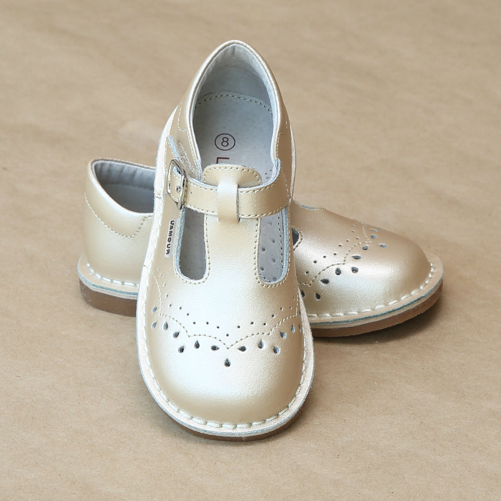 Girls Embroidered Champagne T-Strap Stitch Down Mary Jane by L'Amour - Petitfoot.com