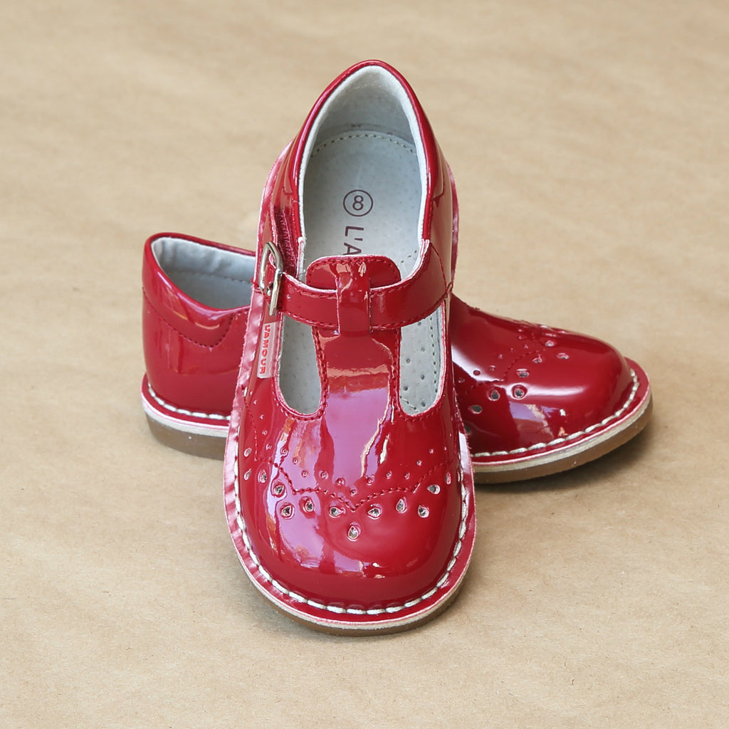 Girls Embroidered Patent Red T-Strap Stitch Down Mary Jane by L'Amour - Petitfoot.com