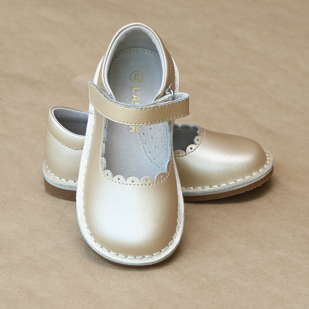 Girls Champagne T-Strap Scalloped Stitch Down Mary Jane by L'Amour Shoes - Petitfoot.com