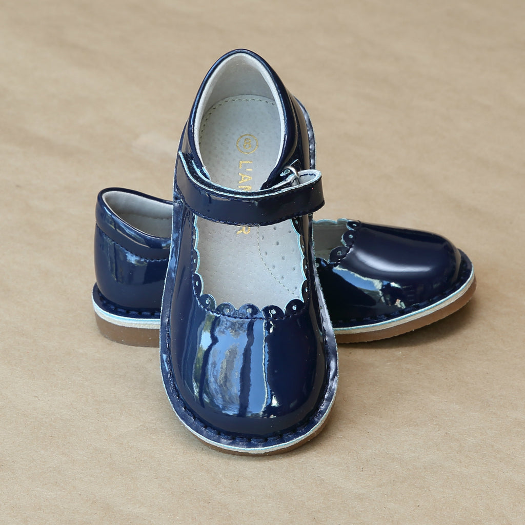 Girls Patent Navy T-Strap Scalloped Stitch Down Mary Jane by L'Amour Shoes - Petitfoot.com
