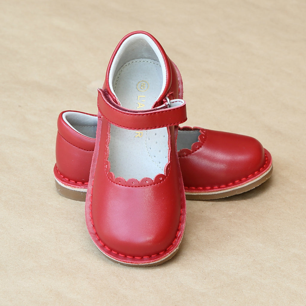 Girls Red T-Strap Scalloped Stitch Down Mary Jane by L'Amour Shoes - Petitfoot.com