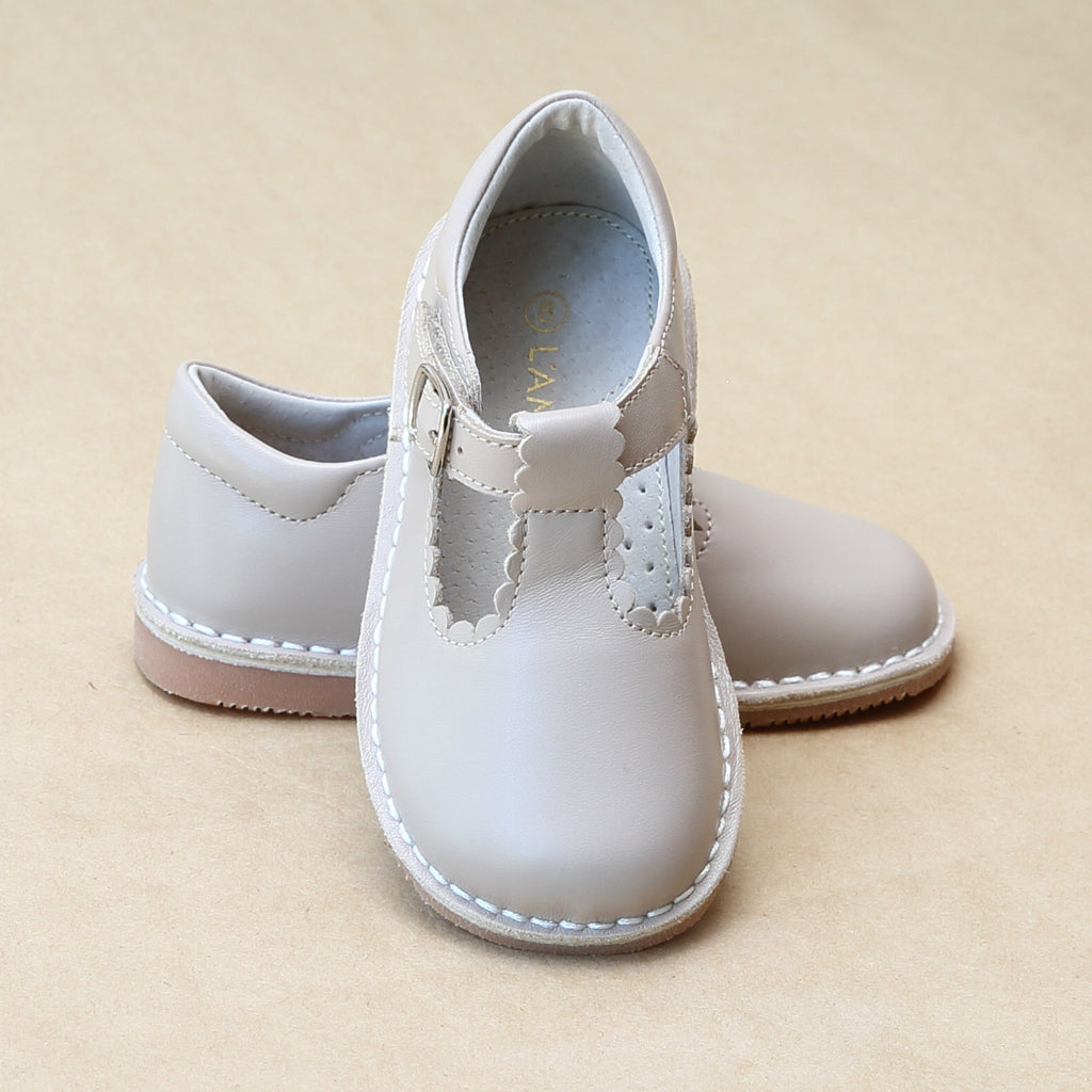 L'Amour Girls Selina Almond Leather Scalloped T-Strap Leather Mary Janes - Petitfoot.com