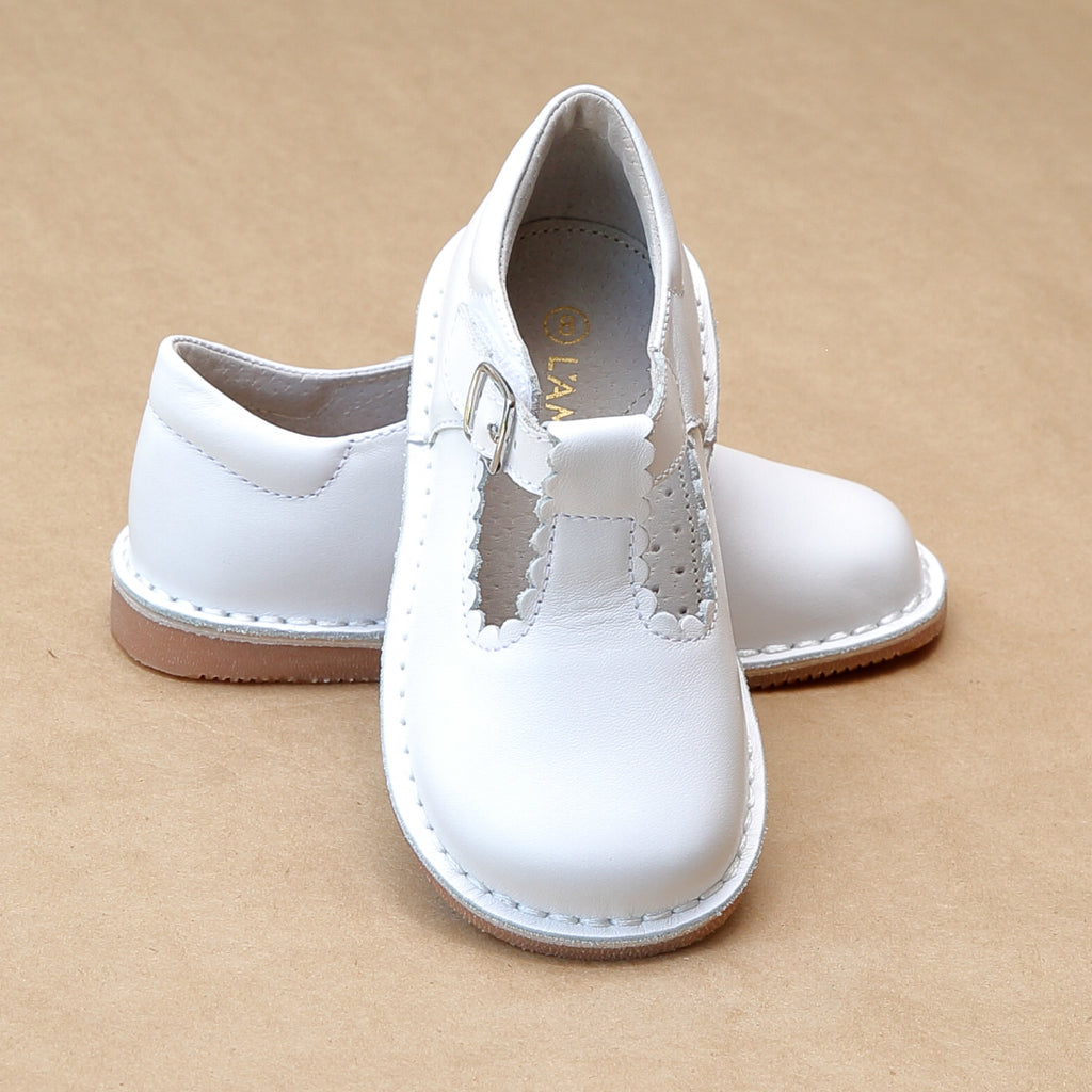 L'Amour Girls Selina White Leather Scalloped T-Strap Leather Mary Janes - Petitfoot.com
