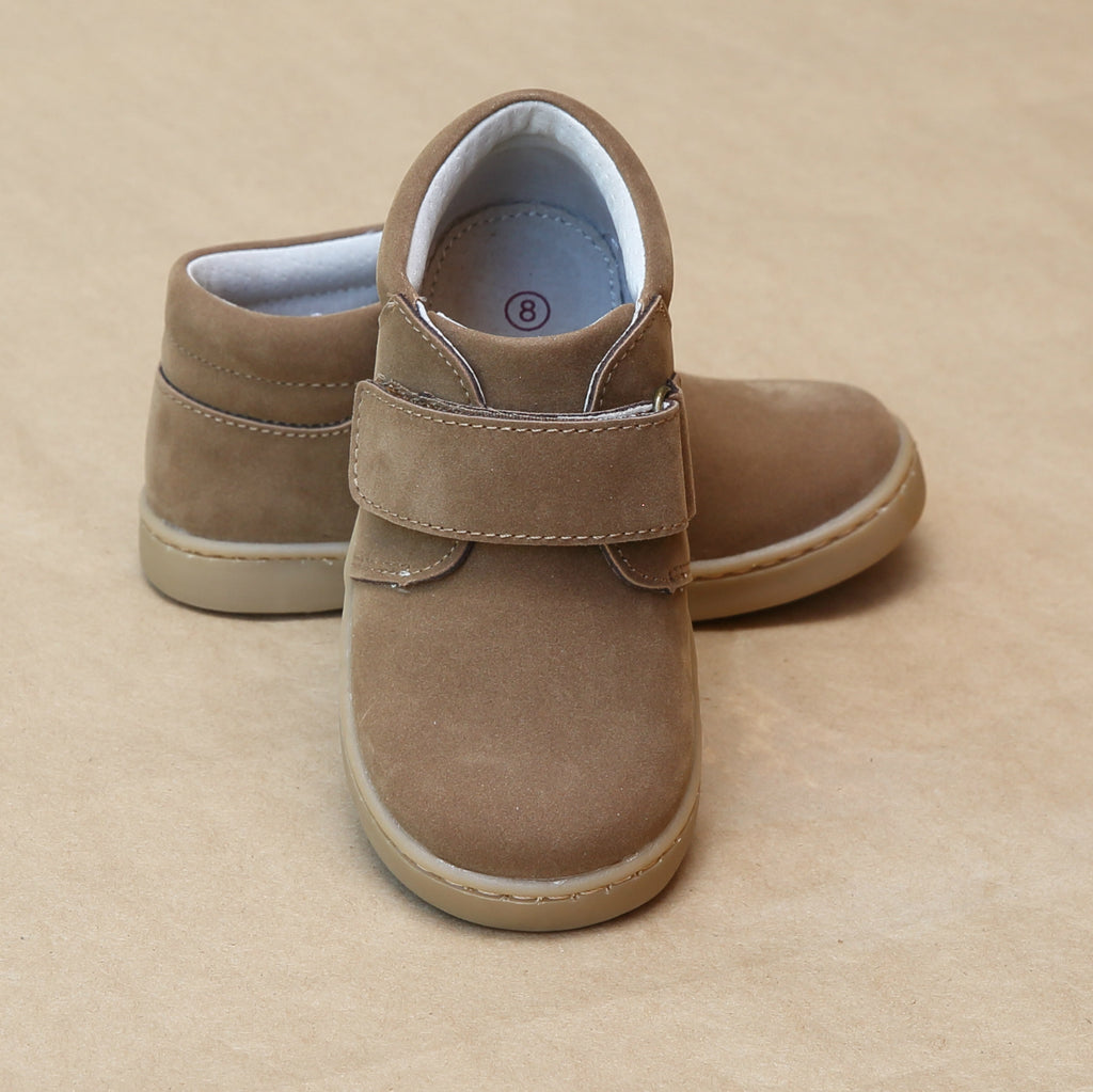 L'Amour Boys Parker Brown Nubuck Leather Chukka Boot with Velcro Strap - Petitfoot.com
