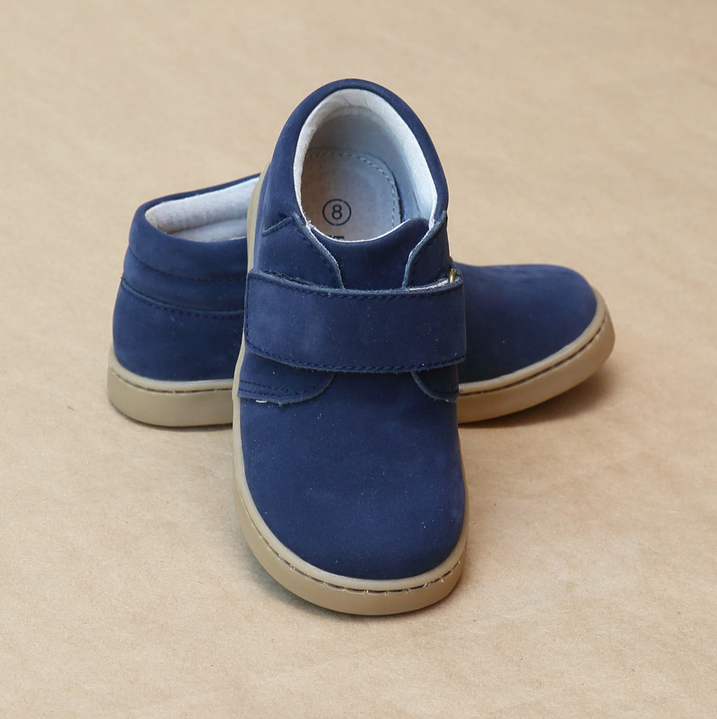 L'Amour Boys Parker Navy Nubuck Leather Chukka Boot with Velcro Strap - Petitfoot.com