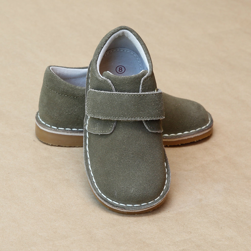 L'Amour Boys  Oliver Olive Suede Stitch Down Leather Velcro Boots - Petifoot.com