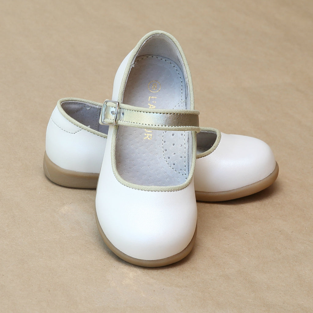 L'Amour Girls Olga Classic Pearl White Leather Mary Jane with Piping - Petitfoot.com