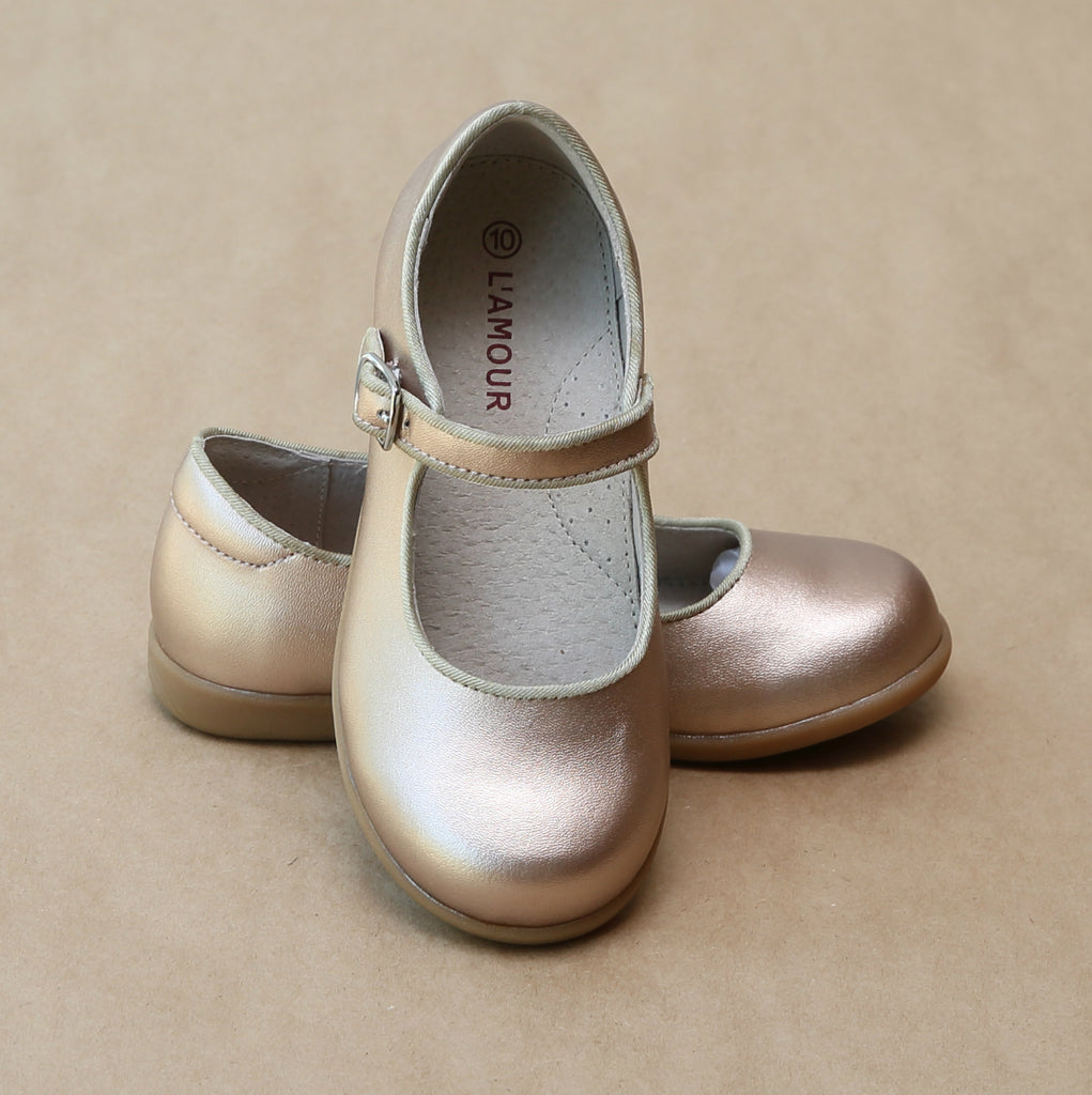 L'Amour Girls Champagne Buckled Leather Mary Jane with Piping - Petitfoot.com