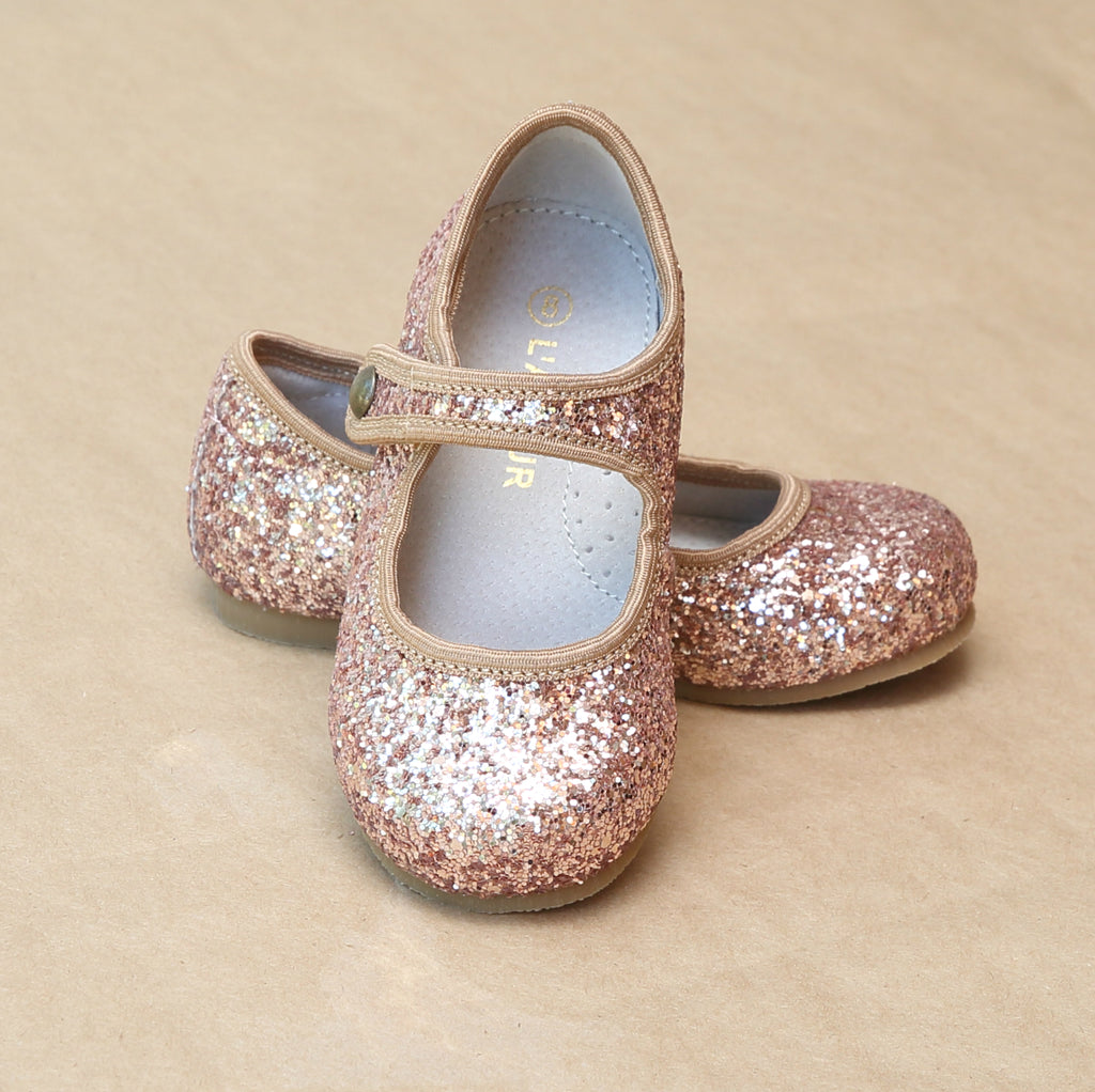 L'Amour Toddler Girls Renata Bronze Glitter Flats - Special Occasion and Holiday - Petitfoot.com
