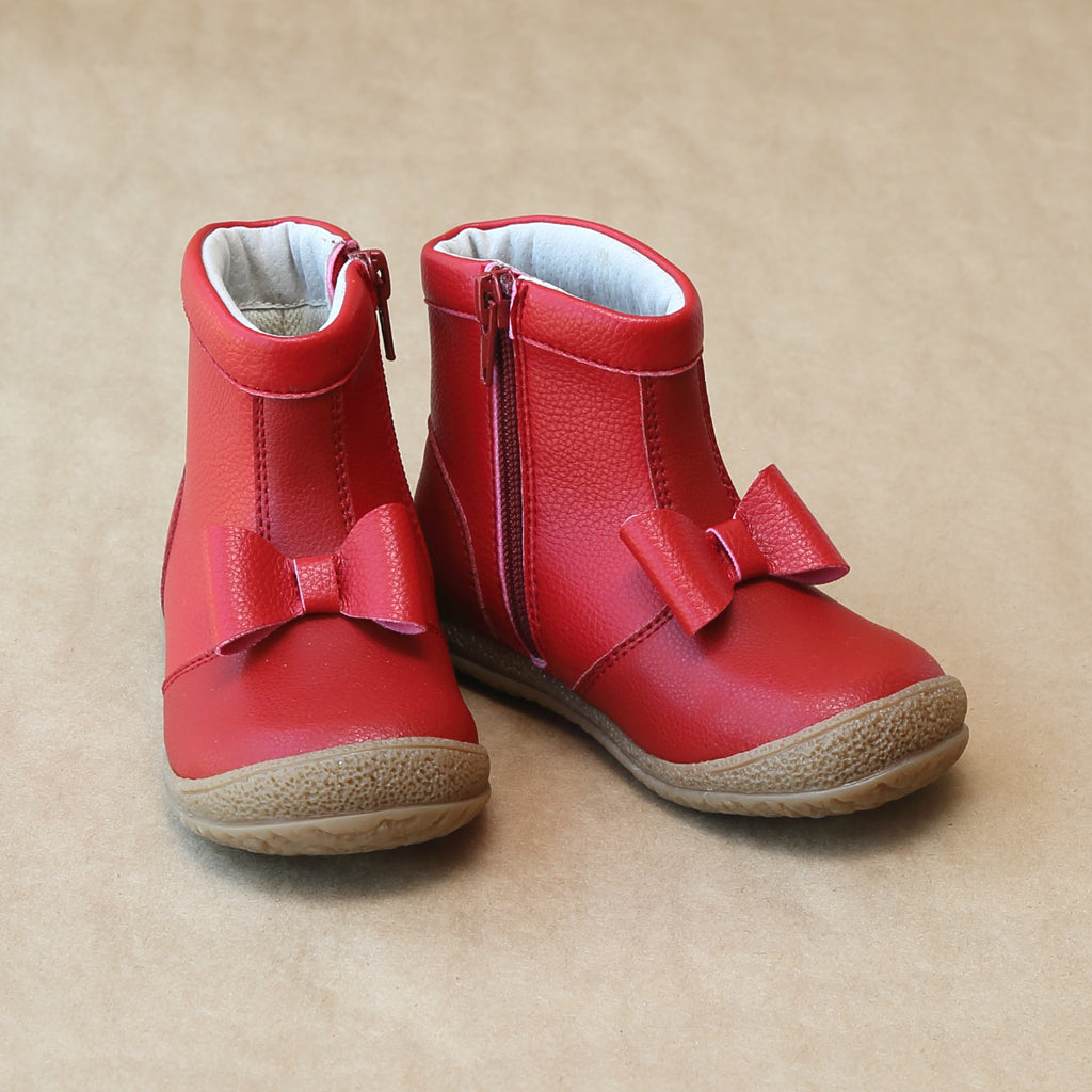 Girls Red Bow Leather Ankle Boot by L'Amour Shoes - Petitfoot.com