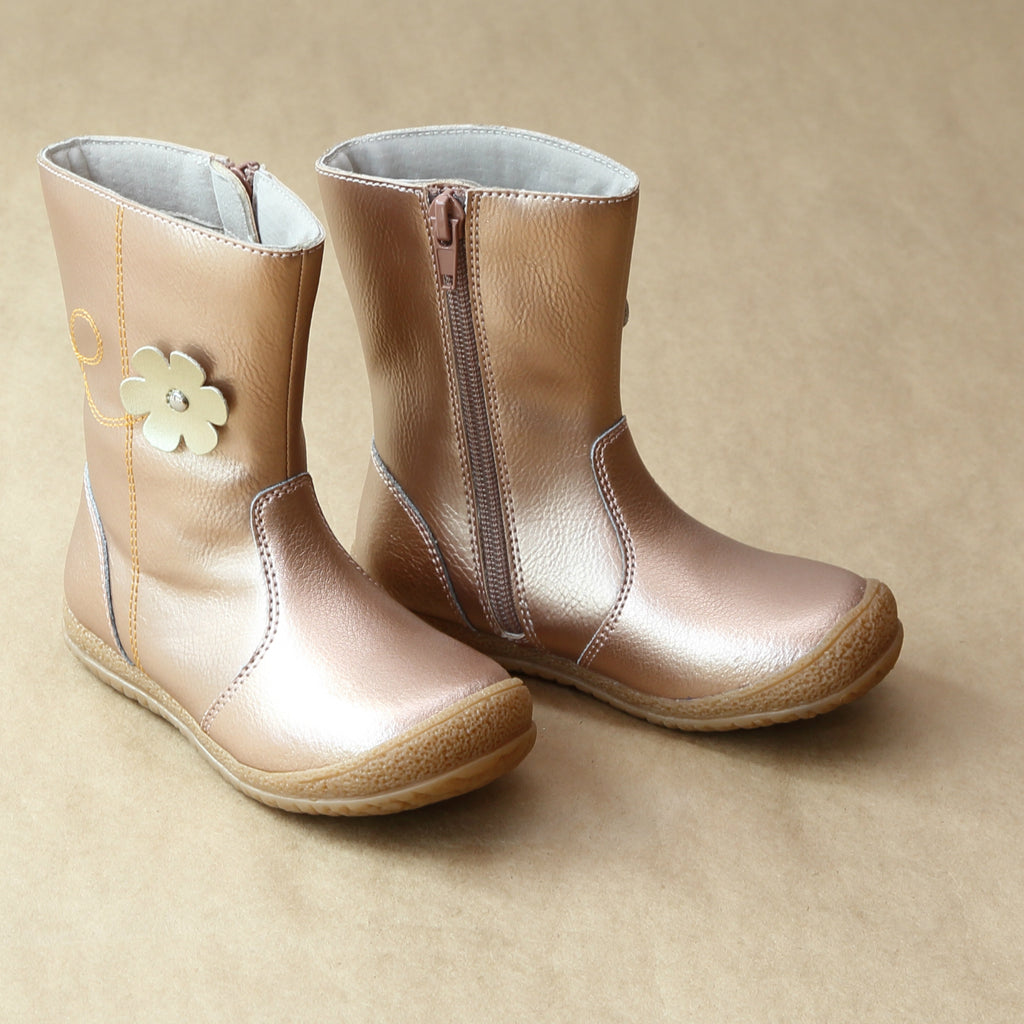 L'Amour Girls Rosegold Posy Flower Leather Mid Boot - Petitfoot.com