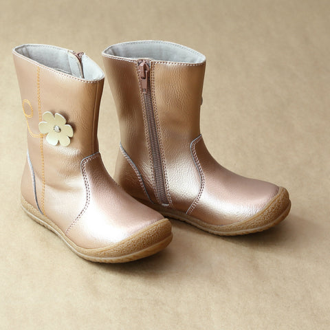L'Amour Girls Rosegold Posy Flower Leather Mid Boot