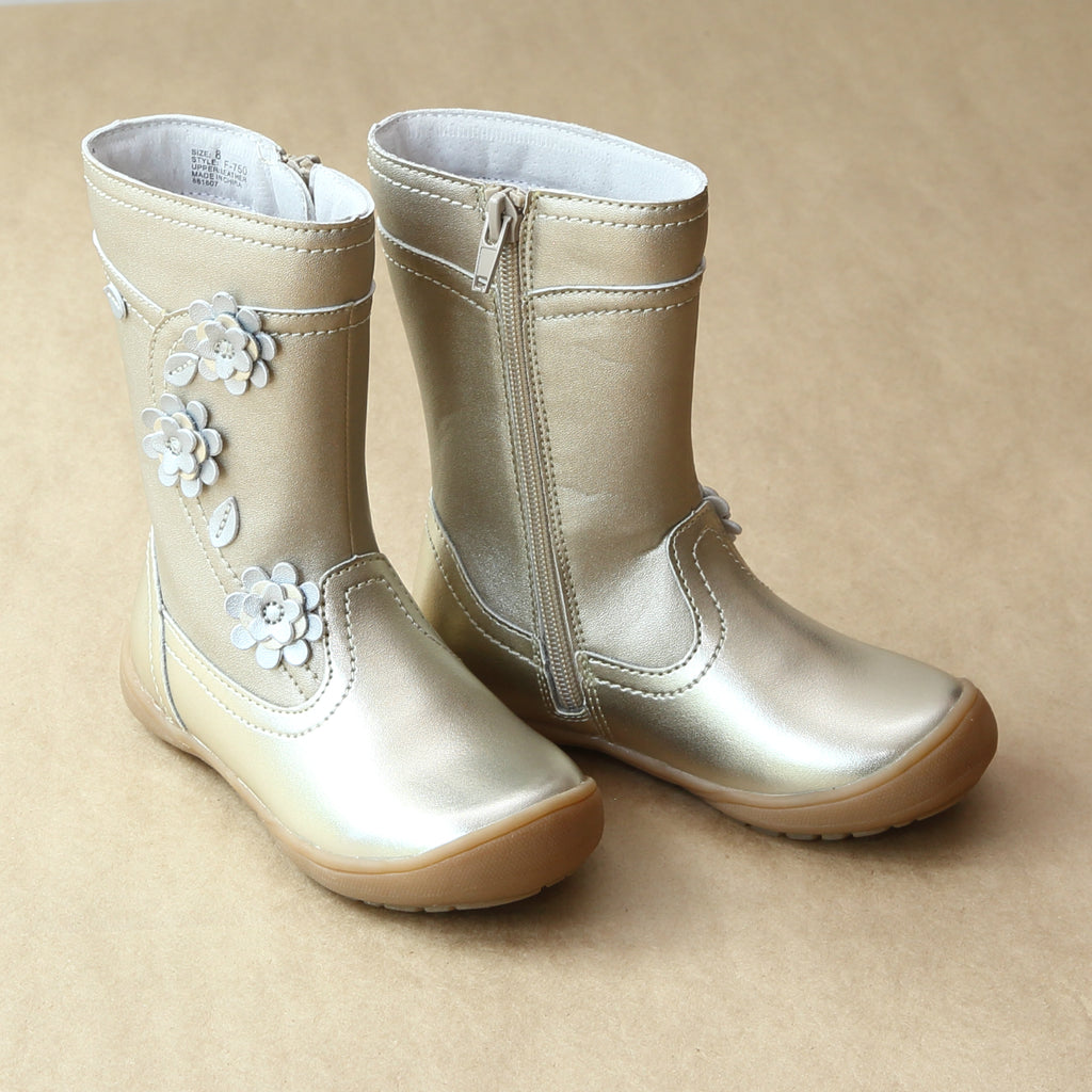 L'Amour Girls Gold Posy Flower Leather Mid Boot - Petitfoot.com
