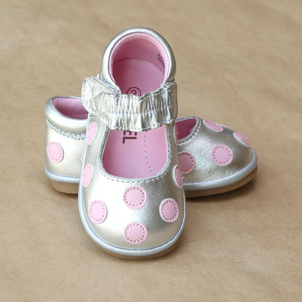 Angel Baby Girls Pink Polka Dot Silver Mary Jane  - Petitfoot.com
