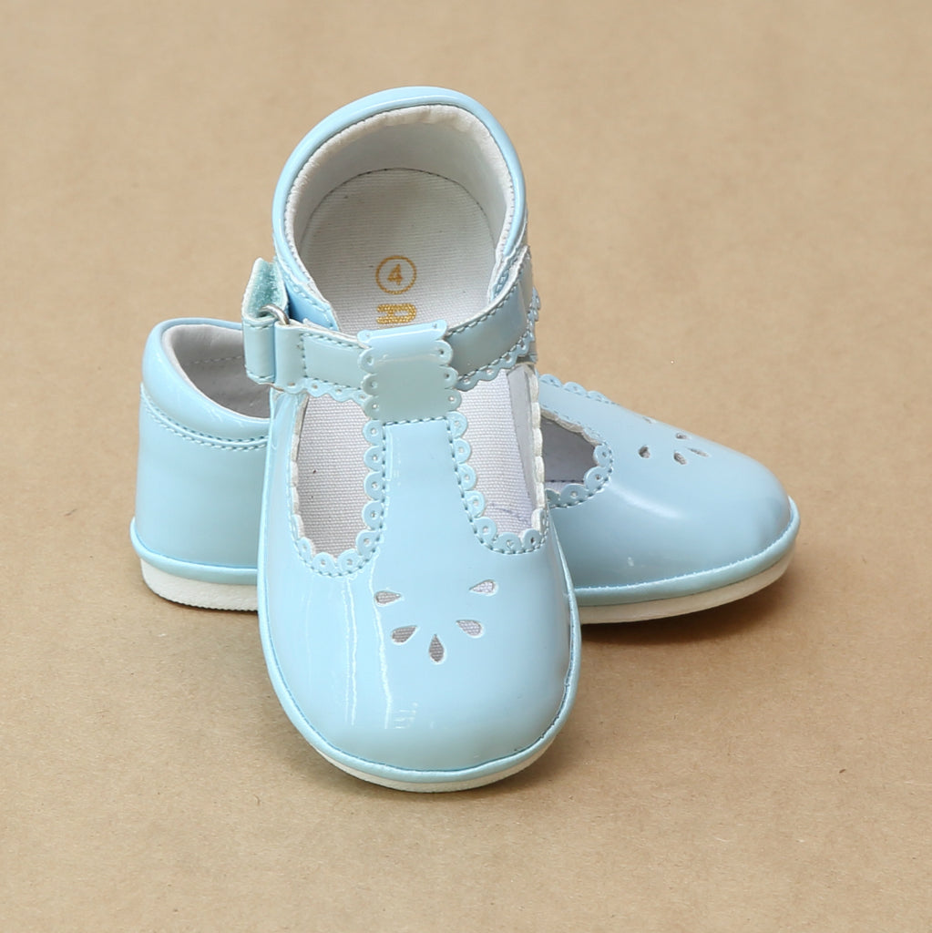 Angel Baby Girls Dottie T-Strap Scalloped Patent Sky Blue Mary Jane - Petitfoot.com