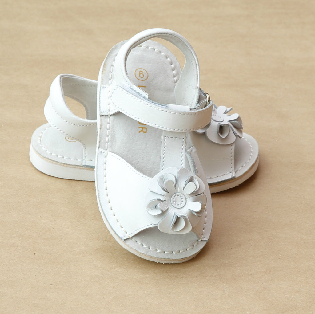 L'Amour Girls T-Strap Flower Open Toe Sandal