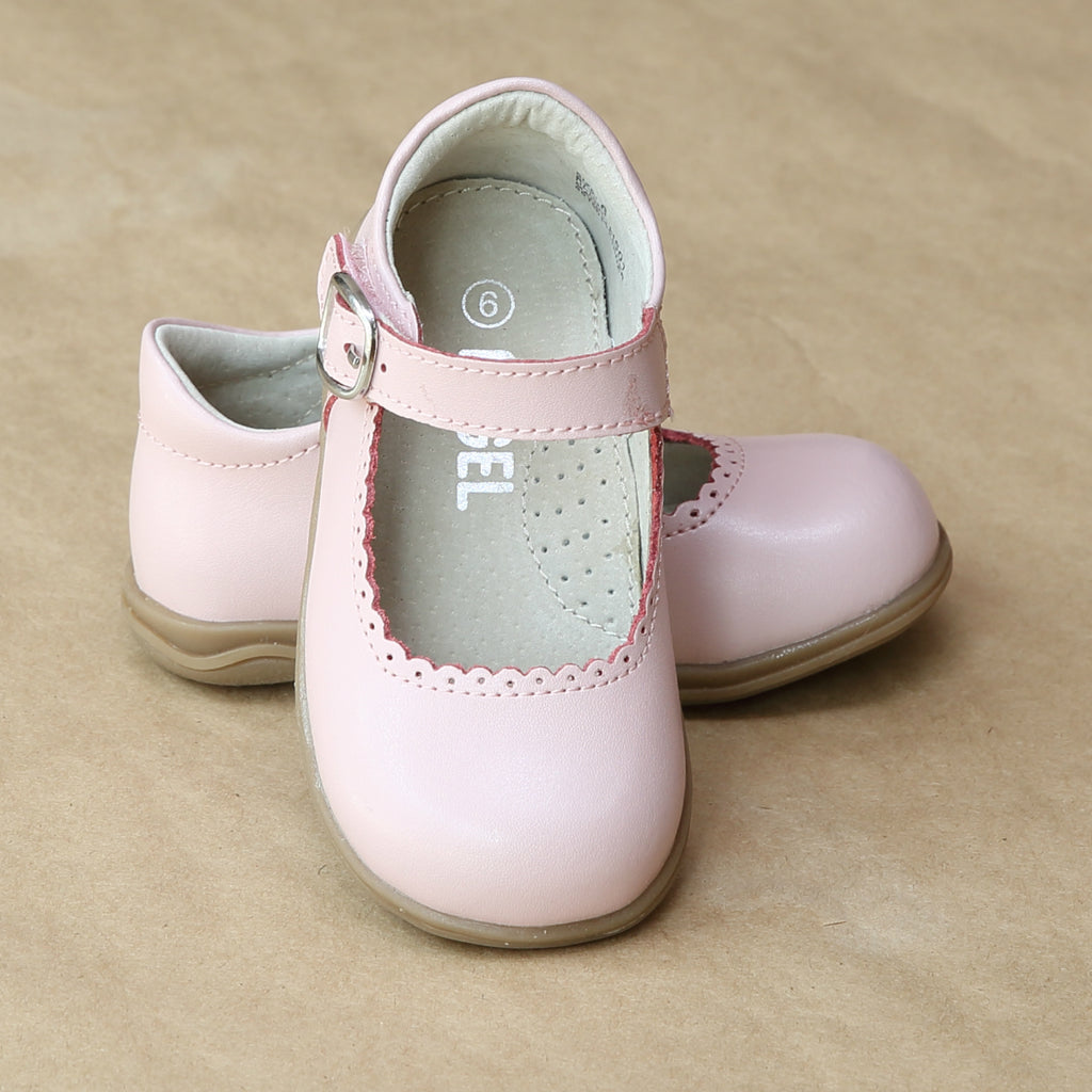 Angel Girls Pink Scalloped Trim Leather Mary Jane - Petitfoot.com