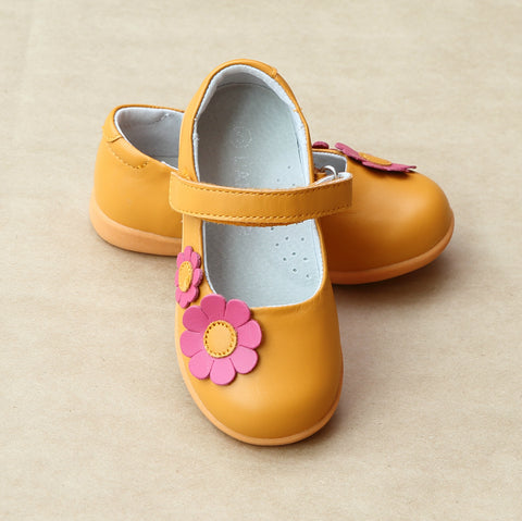 L'Amour Girls Sporty Flower Power Leather Mary Jane