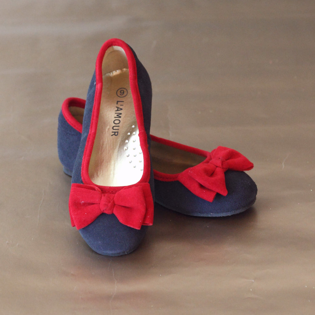 L'Amour Girls Navy Suede Leather Bow Flat