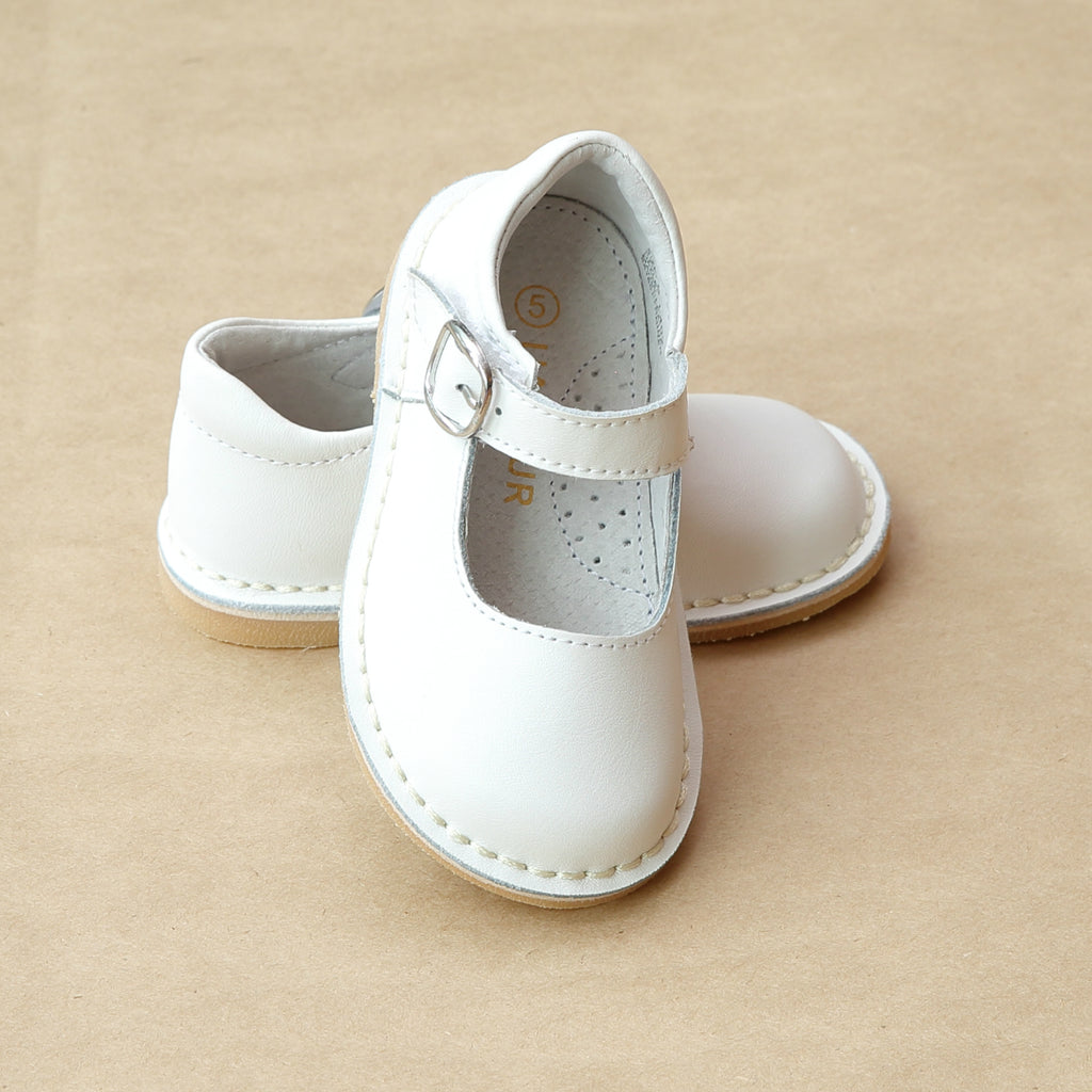 L'Amour Girls White Classic Stitch Down Mary Jane - Petitfoot.com